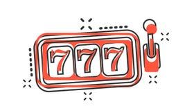 Vector de gokautomaatpictogram van het beeldverhaalcasino in grappige stijl hefboom 777 Stock Afbeeldingen
