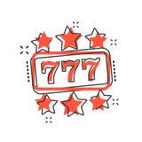 Vector de gokautomaatpictogram van het beeldverhaalcasino in grappige stijl hefboom 777 Stock Foto
