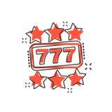 Vector de gokautomaatpictogram van het beeldverhaalcasino in grappige stijl hefboom 777 vector illustratie
