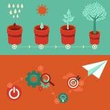 Vector de groei en startconcepten in vlakke stijl Stock Afbeeldingen