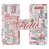 Vector de groet internationaal toerisme van de brievendoopvont H hello stock illustratie