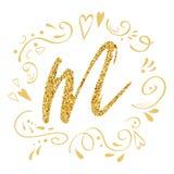 Vector de groetauto van de moedersdag met gouden brievenm Romantic abstract gouden ornament Stock Afbeelding