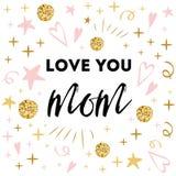 Vector de groetbanner van de moedersdag Tekstliefde u mamma De romantische abstracte hand getrokken druk van het ornamentmalplaat Royalty-vrije Stock Fotografie