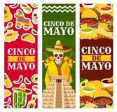 Vector de groetbanners van Cinco de Mayo Mexican