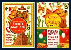 Vector de groetkaart van Cinco de Mayo Mexican