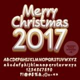 Vector de groetkaart van koekjes Vrolijke Kerstmis 2017 Stock Foto