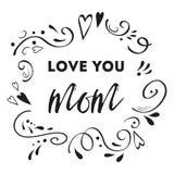 Vector de groetkaart van de moedersdag Tekstliefde u mamma De romantische abstracte hand getrokken banner van de ornamentkaart pr Stock Afbeeldingen