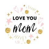 Vector de groetkaart van de moedersdag Tekstliefde u mamma De romantische abstracte hand getrokken druk van de ornamentbanner Stock Foto's