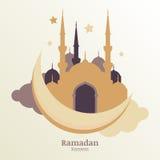 Vector de groetkaart van Ramadan Kareem, silhouet van gouden moskee vector illustratie