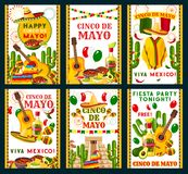 Vector de groetkaarten van Cinco de Mayo Mexican