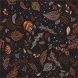 Vector de herfst naadloos patroon met bladeren donkere achtergrond Stock Fotografie