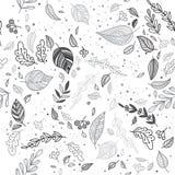 Vector de herfst naadloos patroon met bladeren witte achtergrond Royalty-vrije Stock Afbeeldingen