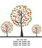 Vector de herfstachtergrond met boom Stock Afbeeldingen