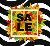 Vector de herfstverkoop met dalend bladerenpatroon Stock Afbeeldingen