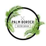 Vector de hoja de palma tropical de la frontera Fotografía de archivo libre de regalías