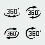 Vector de 'iconos de la rotación 360 grados' Fotos de archivo libres de regalías