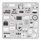 Vector de iconos planos, del servicio postal y del sistema de la oficina de correos Imagen de archivo libre de regalías