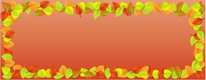 Vector de illustratieontwerp van het de herfstblad Dalende dalingsbladeren Autumn Falling Leaves, op Oranjerode BackgroundBorder  stock illustratie
