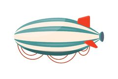 Vector de illustratiereis van het hete luchtluchtschip Vrijheid van het de zomer de ballooning avontuur Stock Foto