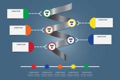 Vector de Infographic como espiral del metal con cronología horizontal libre illustration