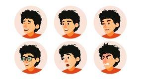 Vector de Junior Character Business People Avatar Cara adolescente del hombre del desarrollador, emociones fijadas Placeholder cr stock de ilustración