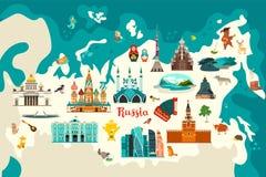 Vector de kaartillustratie van Rusland De hand trekt atlas met Russische oriëntatiepunten, vector illustratie