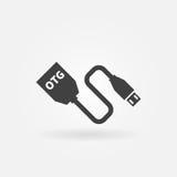 Vector de kabelpictogram van USB OTG stock illustratie
