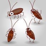 Vector de kakkerlakkenreeks van het lijn vectorbeeldverhaal Stock Afbeeldingen