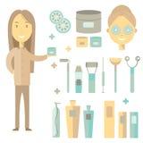 Vector de kosmetiekillustratie De kosmetiekvrouwen met room stock fotografie