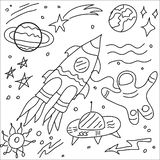 Vector de krabbel ruimte en ruimtevoorwerpen van de lijnkunst royalty-vrije illustratie