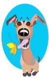 Vector de kunstillustratie van de beeldverhaalklem van een leuk en gelukkig puppy Royalty-vrije Stock Foto's