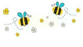 Vector de la abeja con el fondo de la bandera de la flor de la margarita stock de ilustración