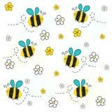 Vector de la abeja con la flor de la margarita Fondo del vector del modelo de la primavera libre illustration