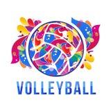 Vector de la acción del logotipo del voleibol del vector Fotografía de archivo libre de regalías