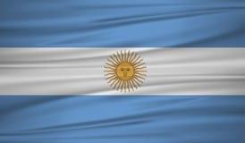 Vector de la bandera de la Argentina Blowig de la bandera de la Argentina del vector en el viento ilustración del vector