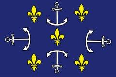Vector de la bandera de la ciudad de Port Louis, Mauricio imágenes de archivo libres de regalías