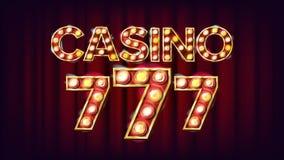 Vector de la bandera del casino 777 Luz iluminada estilo del vintage del casino Lucky Illustration Imagen de archivo libre de regalías