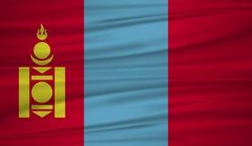 Vector de la bandera de Mongolia Vector la bandera del blowig de Mongolia en el viento ilustración del vector