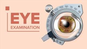 Vector de la bandera de la prueba del ojo Dispositivo de la corrección Optometrista Check Pruebe el ejemplo stock de ilustración