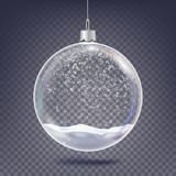 Vector de la bola de la Navidad Elemento de cristal de la decoración del árbol clásico de Navidad Nieve brillante, copo de nieve  libre illustration