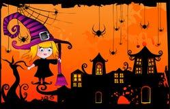 Vector de la bruja de la historieta de Víspera de Todos los Santos Foto de archivo libre de regalías