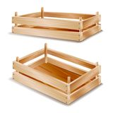 Vector de la caja de madera Embalaje de madera vacío Caja vacía de la fruta en el ejemplo blanco del fondo stock de ilustración