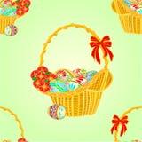 Vector de la cesta de mimbre de la textura inconsútil y de los huevos de Pascua Imagen de archivo libre de regalías