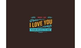 Vector de la cita de la tipografía del amor Foto de archivo libre de regalías