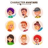 Vector de la colección de los avatares de los caracteres de la gente Defecto Avatar Ejemplo aislado plano de la historieta stock de ilustración