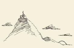 Vector de la colina del top de la situación de la bicicleta del jinete del bosquejo Fotos de archivo