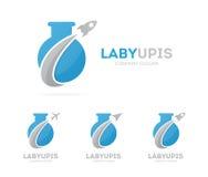 Vector de la combinación del logotipo del cohete y del bulbo Símbolo o icono del aeroplano y de la botella del laboratorio Cienci Imagen de archivo libre de regalías