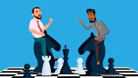 Vector de la competencia del negocio Dos hombres de negocios que montan los caballos del ajedrez blancos y negros para encontrars ilustración del vector