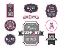 Vector de la conciencia del cáncer de pecho con el texto Fotos de archivo libres de regalías