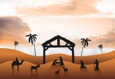 Vector de la escena de la natividad en desierto Fotos de archivo